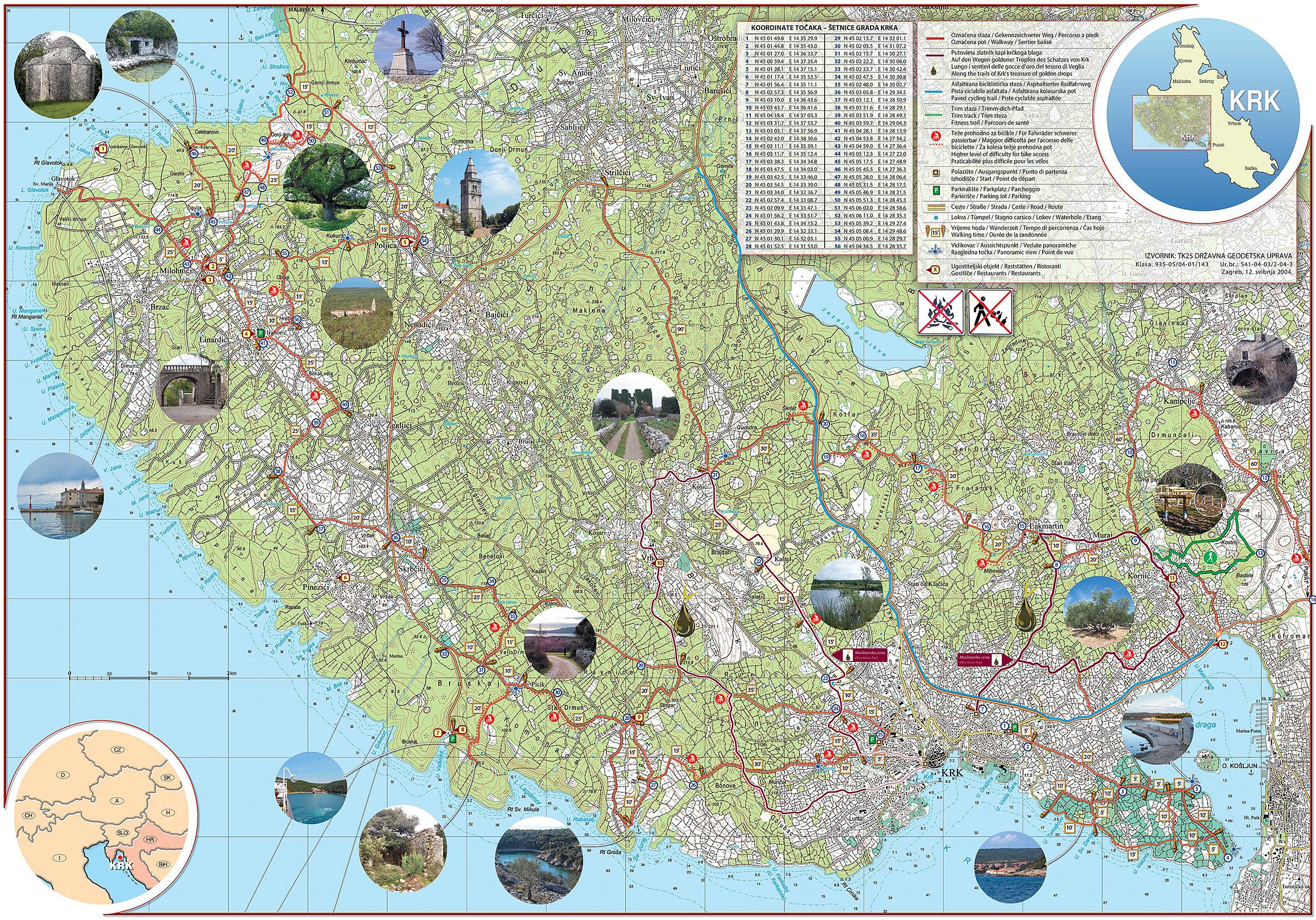 Cartina Krk.Sentieri Ciclabili E A Piedi